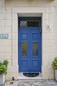 Blue wood main door.