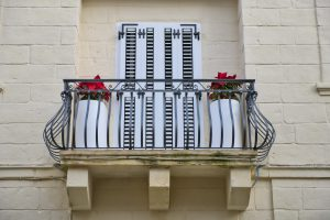 White balcony louvers