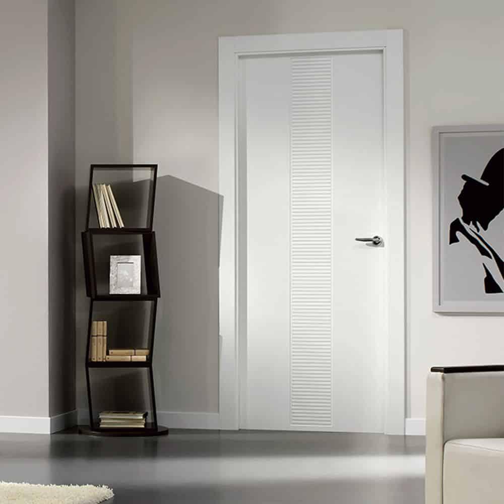 White internal door.